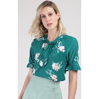 Blusa Feminina Estampada Floral Com Babado Na Manga Gola Laço Verde