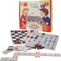 Jogo 3 Em 1 Dama Trilha E Dominó Educativo Caixa Cartonada - Fundamental