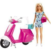 Boneca Barbie E Veículo - Barbie E Scooter - Mattel
