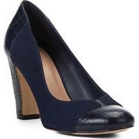 Scarpin Couro Shoestock Salto Alto Mix Croco - Feminino-Marinho