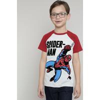 Camiseta Infantil Homem Aranha Raglan Manga Curta Cinza Mescla Claro