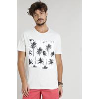 Camiseta Masculina Mescla Com Recorte De Coqueiros Manga Curta Gola Careca Off White