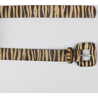 Cinto Largo Feminino Em Pelo Estampado Animal Print Tigre Bege