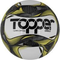 Bola De Futebol De Campo Topper Drible - Branco/Preto
