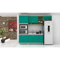 Cozinha Modulada Completa Com 4 Módulos Retrô Ball Corda/Turquesa - Urbe Móveis