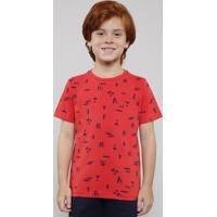 Camiseta Infantil Estampada Tropical Manga Curta Vermelho