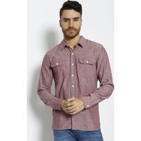 Camisa Mescla Com Bolsos- Rosa Escuro & Brancalevis