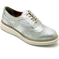 Sapato Oxford Q&A Metalizado Feminino - Feminino-Prata