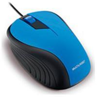 Mouse Multilaser, Emborrachado, Com Fio, Azul E Preto Mo226