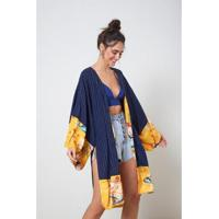 Kimono Mix Com Listra Listra - Oh, Boy! - Feminino-Marinho