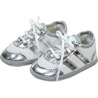 Tênis Sapatinhos Baby Branco E Prata