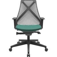 Cadeira Office Bix Tela Preta Assento Poliéster Verde Autocompensador Base Piramidal 95Cm - 64022 - Sun House