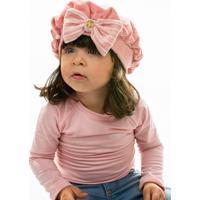 Boina Everly Bebê Plush C/ Laço Rosê