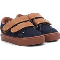 Tênis Infantil Kurz Coleção Fofinhos Velcro Masculino - Masculino-Jeans