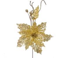 Flor Decoração Natal Poinsetia Dourado