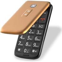 Celular Flip Vita Dual Chip Mp3 Dourado Multilaser - P9043 - Padrão