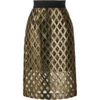 Dolce & Gabbana Saia Cintura Alta Com Bordado - Dourado