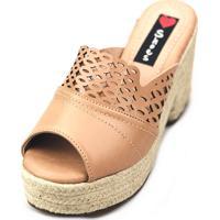 Tamanco Love Shoes Salto Bloco Meia Pata Plataforma Corda Laser Nude