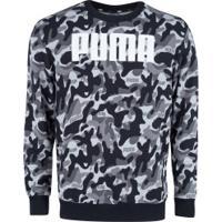 Blusão Puma Rebel Camo Crew Tr - Masculino - Preto/Marrom