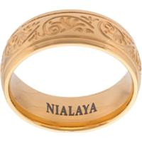 3a381608f43 Nialaya Jewelry Anel Gravado De Aço Inoxidável - Amarelo
