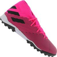 Chuteira Society Adidas Nemeziz 19.3 Tf - Adulto - Rosa/Preto