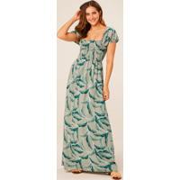 Vestido Verde Longo Tropical Com Lastex
