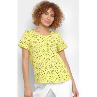 Blusa Mi Estrelas Botões Feminina - Feminino-Amarelo