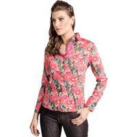 729a6b0211 Occhi Azzurri  Camisa Feminina Slim Florida Pink Floral Carlos Brusman