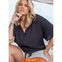 Camisa Plus Size De Viscose Secret Glam Preto