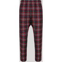 Calça De Pijama Masculina Flanelada Estampada Xadrez Vermelha