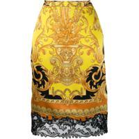 Versace Saia Com Estampa Barroca - Amarelo