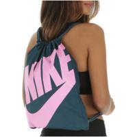 Gym Sack Nike Heritage - 13 Litros - Verde Esc/Rosa