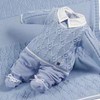 Saída De Maternidade Beth Bebê Tricô Plush Júnior Luxo Azul