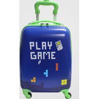 Mala De Viagem Bordo Com Rodas Giro 360° Rígida Juvenil Play Game Yin'S (Azul Médio, B)
