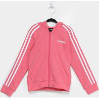 Jaqueta Infantil Adidas Capuz 3 Stripes Feminina - Feminino-Rosa+Branco