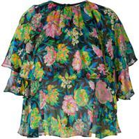 Msgm Blusa Floral De Seda - Estampado