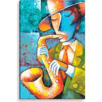 Tela Decorativa Estilo Pintura Músico De Rua Tocando Saxofone - Tamanho: 90X60Cm (A-L) Unico