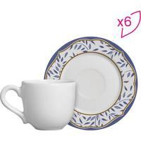Conjunto De Xícaras De Café Folhas- Branco & Azul- 6Scalla Cerâmica