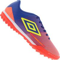 Chuteira Society Umbro Speed Sonic Tf - Adulto - Laranja Cla/Azul