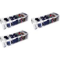 Kit Com 03 - Organizador De Gaveta Cristal 9 Nichos 14X10X38 - Organibox