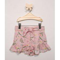 Short Infantil Estampado Floral Com Babado Rosa