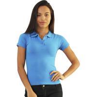 Camiseta Versatti Aline Polo Básica Azul Celeste