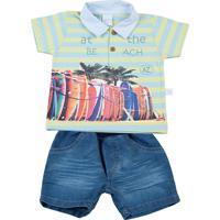 Conjunto Curto Listrada Bicolor Silk Pranchas Surf E Indigo Ano Zero Azul