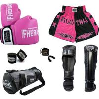 Kit Boxe Muay Thai Orion Caneleira Bolsa Shorts 08 Oz - Feminino