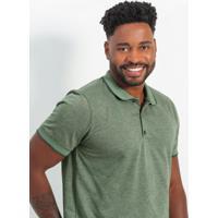 Camiseta Polo Em Malha Com Retilínea Verde