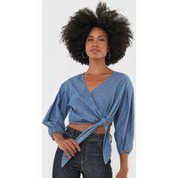 Blusa Cropped Jeans Colcci Amarração Azul