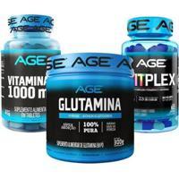 Glutamina + Vitplex + Vitamina C (300G) - Age - Unissex