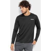 Camiseta Adidas D2M Manga Longa Masculina - Masculino-Preto