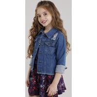 Jaqueta Jeans Infantil Com Rasgos Azul Escuro
