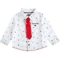 Camisa Geomã©Trica Com Gravata- Branca & Pretatip Top